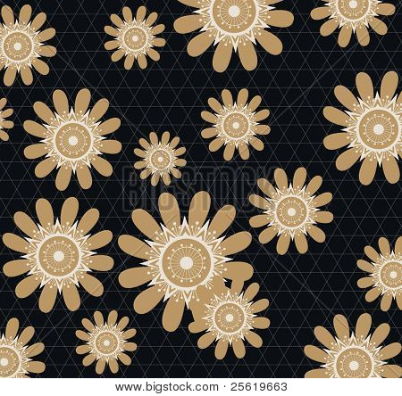 Seamless Modern Flower Wallpaper Design in Retro Style.