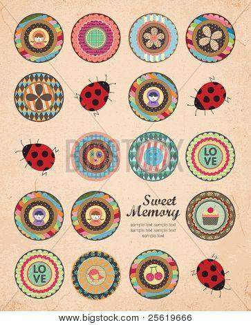 Beautiful Cover and Album Art Design in Retro Style. A Lot of Scrapbook Element.