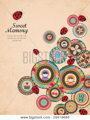 Creative Cover and Album Art Design in Retro Style. A Lot of Scrapbook Element.