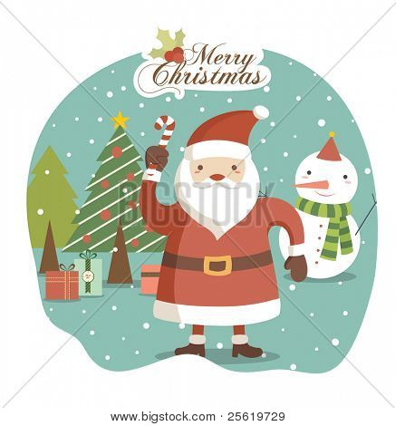 Santa Claus on Winter with Lovely Background. Christmas Greeting Card Design.