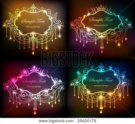 Set of shiny vintage frame