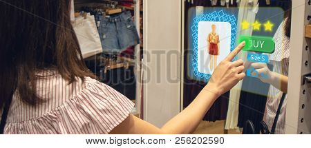 Iot Smart Retail Futuristic Technology Concept, Happy Girl Try To Use Smart Display With Virtual Or