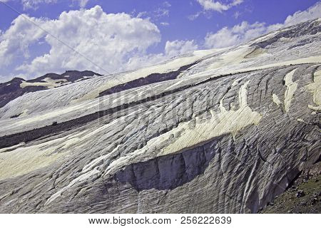 Danger Elbrus Moubtainside With Snow And Glacier