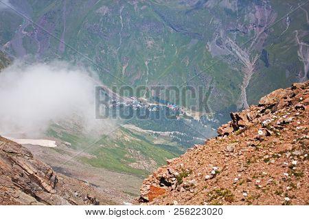 View On Terskol Village From Cheget Peak