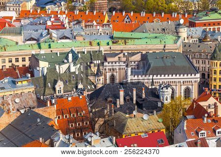 Riga, Latvia - May 05, 2017:  Buildings Of The Old City Riga.  Architecture Of Old Town Of Riga. Rig