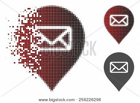 Post Office Marker Icon In Sparkle, Pixelated Halftone And Undamaged Solid Variants. Pieces Are Comp
