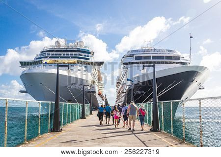 Basseterre, St. Kits And Nevis 14 December, 2016: Cruise Passengers Return To Cruise Ships