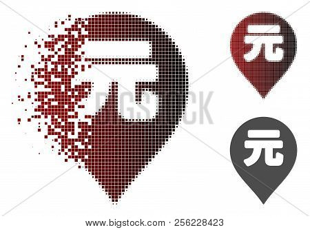 Yuan Renminbi Marker Icon In Dispersed, Dotted Halftone And Undamaged Solid Versions. Elements Are A