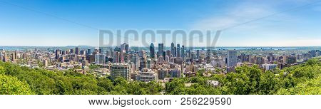 Panoramic Skyline View From Mount Royal Hill At The Montreal City - Canada