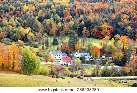 View of rural Vermont in autumn time