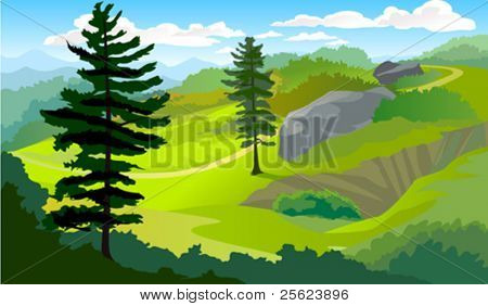 Tropical hillside landscape