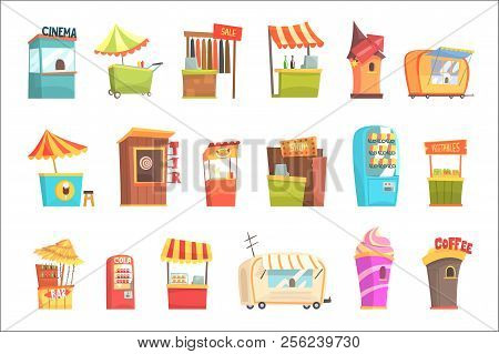 Fair And Market Street Food And Shop Kiosks, Small Temporary Stands For Sellers Set Of Cartoon Illustrations poster