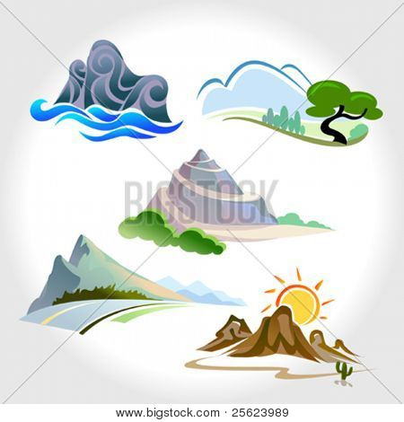 MAGNIFICENT MOUNTAINS, HILLS AND SLOPE ICONS