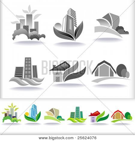 Eco Friendly Urban Architecture Symbols - ICON Set