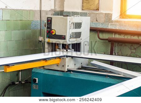 Production Of Pvc Windows, Gluing Of Plastic Corners Of Windows, Machine For The Production Of Pvc W