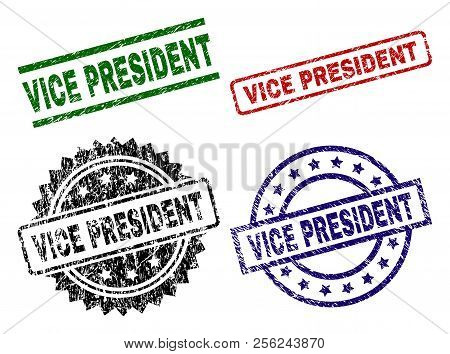 Vice President Seal Prints With Corroded Texture. Black, Green, Red, Blue Vector Rubber Prints Of Vi
