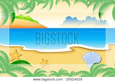 illustration of sea view surrounded with palm leaves