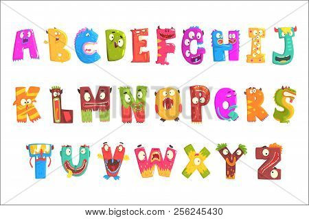 Colorful Cartoon Children English Alphabet With Funny Monsters. Education And Development Of Childre