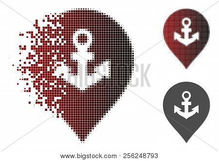 Sea Port Marker Icon In Sparkle, Dotted Halftone And Undamaged Solid Variants. Pixels Are Combined I