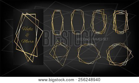 Gold Geometric Wedding Invitation, Set Of Luxury Frames. Vector Border Collection For Birthday, New