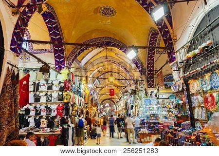 Istanbul, Turkey - August 14, 2018: People Shopping Inside The Famous Historical Grand Bazaar Buildi