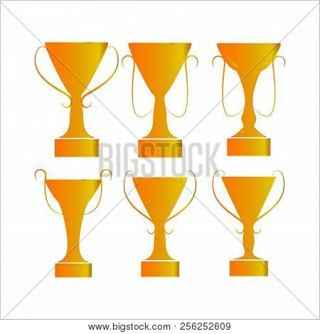 Cup Award Gold Set. Modern Symbol Of Victory, Award Achievement Sport. Insignia Ceremony Awarding Of