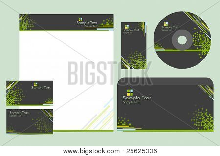 illustration of business template with business card,cd cover and letter head