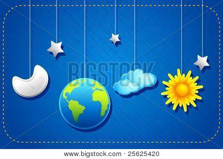 illustration of hanging sun,moon,earth and stars