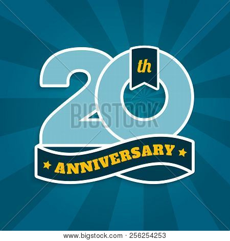 Twenty Years Anniversary With Ribbon, 20th Years Celebration Isolated On Turquoise Sun Rays Backgrou