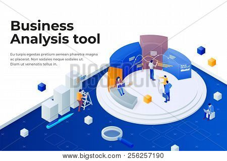 People Work In A Team And Achieve The Goal. Pie Chart In 3d Isometric Style. Data Analysis, And Offi