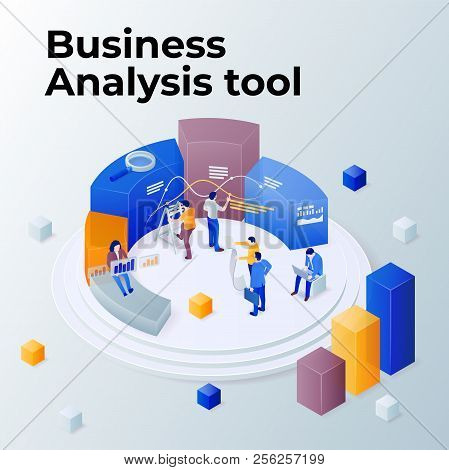 People Work In A Team And Achieve The Goal. Pie Chart In 3d Isometric Style. Consulting For Company