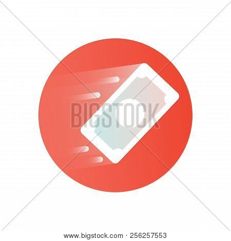 Paper Money Icon. Flying Money Bill On Red Background. Modern Icon With Gradient. Image For The Site
