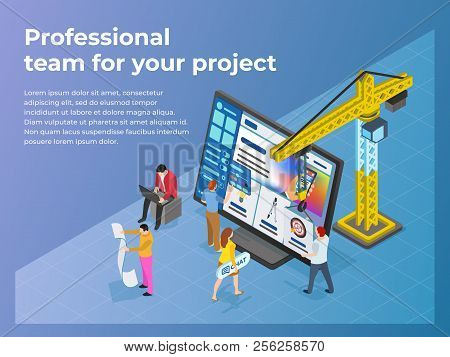 Creation And Promotion Of Sites. Ui / Ux Design. People Work In Teams On A Project. The Crane Lifts