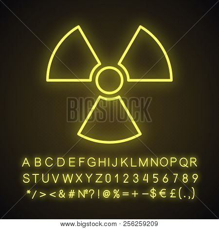 Atomic Power Sign Neon Light Icon. Atomic Energy Using. Safe Nuclear Power. Glowing Sign With Alphab