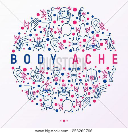 Body Aches Concept In Circle With Thin Line Icons: Migraine, Toothache, Pain In Eyes, Ear, Nose, Whe