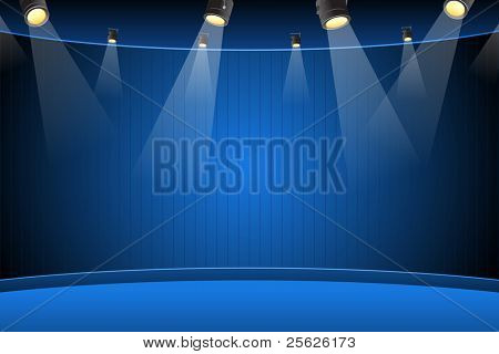 illustration of blank stage for performance with spot light