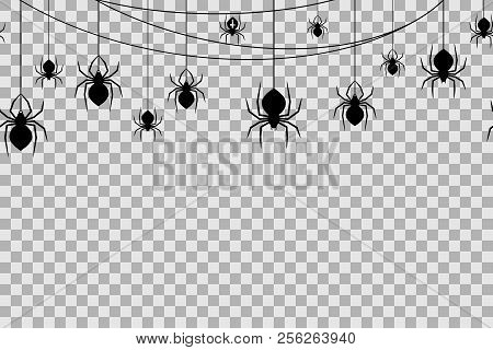 Seamless Pattern With Spiders For Halloween Celebration On Transparent Background. Vector Illustrati