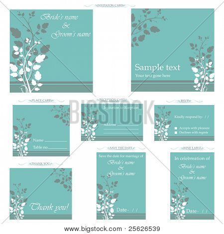 illustration of set of wedding reception invitation card