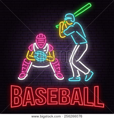 Neon Baseball Or Softball Sign On Brick Wall Background. Vector Illustration. Neon Style Design With