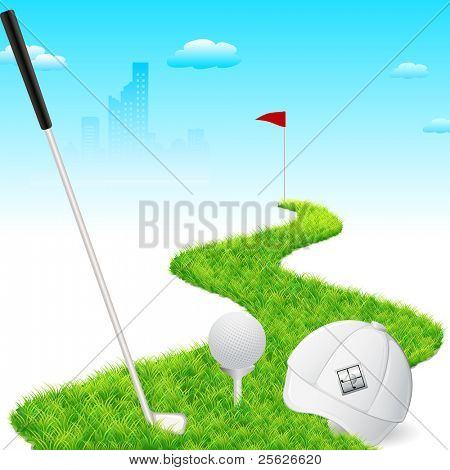 illustration of golf cap with golf stick and golf ball