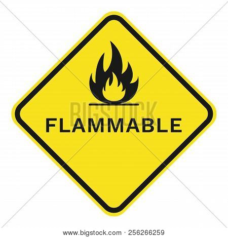 Flammable Sign. Rhombus. Isolated On White Background. Vector.