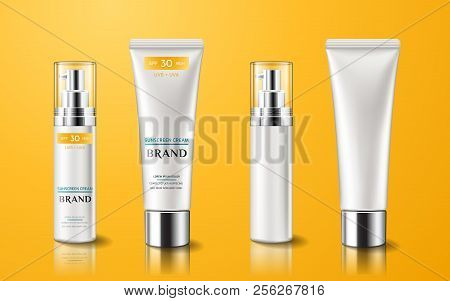 Realistic Tube With Sunscreen Cream. Set Of Isolated 3d Containers With Lotion For Skin Care Or Trea