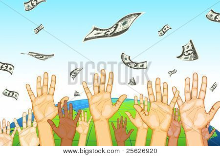 illustration of human hand catching dollar note on earth background