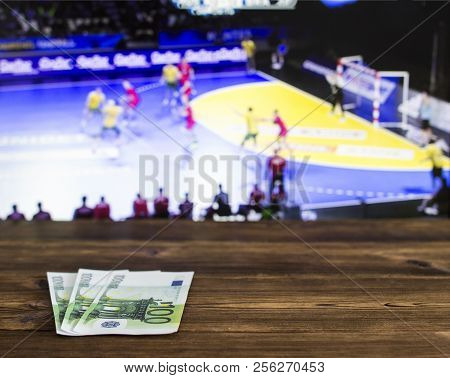 Euro Money On The Background Of The Tv On Which Show Volleyball, Sports Betting, Bookmaker, Euro