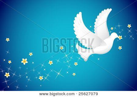 illustration of white pigeon flying in sky