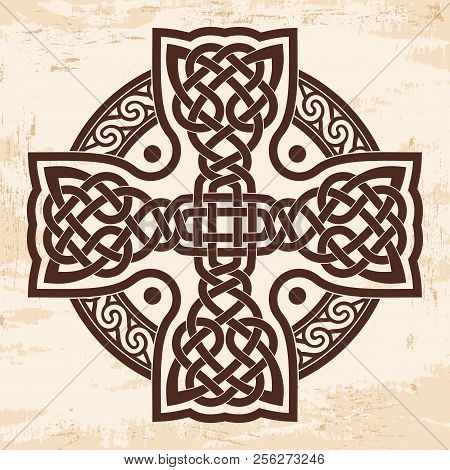 Celtic National Cross With Ornament Interlaced Ribbon. Image On A Beige Background With The Effect O
