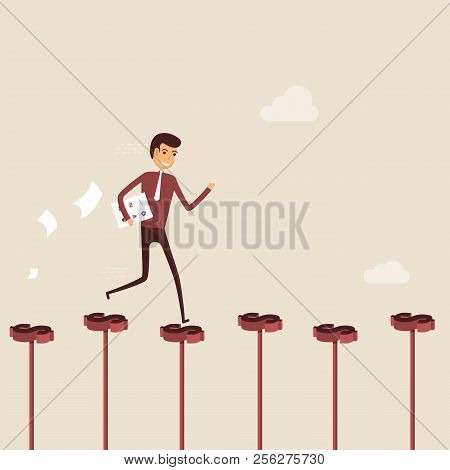 Businessman Walking On The Red Dollar Sign.way Of Success.concept For Success.businessman Walking On