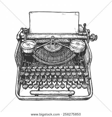 Vector Hand Drawn Illustration Of Retro Typewriter In Vintage Engraved Style. Isolated On White Back