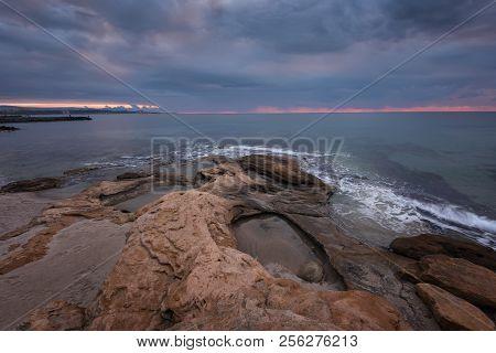 Seascape During Sunrise. Beautiful Natural Seascape, Blue Hour. Sea Sunrise At The Black Sea Coast.