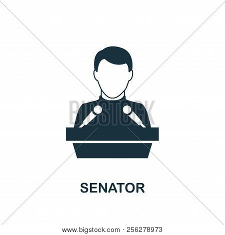 Senator Icon. Monochrome Style Design From Professions Icon Collection. Ui. Pixel Perfect Simple Pic